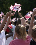 American flag. Kids waving flags Stock Photos