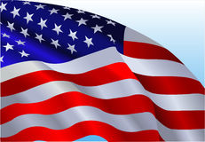 The American Flag. An American flag flowing in the wind Stock Photo
