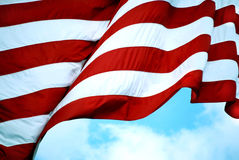 American Flag. Stripes on American Flag Waving in the Wind Stock Photography