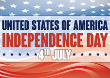 American Flag with Abstract Waves and Stars for Independence Day Stock Photos
