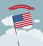 American Flag Against Blue Sky Royalty Free Stock Images