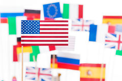 American flag against flags of EU member states Royalty Free Stock Photos
