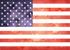 American flag in the aged style. With the stars Vector Illustration