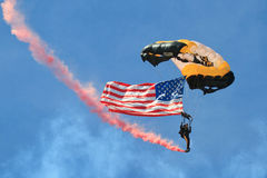 American Flag in Air. 101st Airborne Screaming Eagles with Flag at Tinker Airforce Base Royalty Free Stock Photo