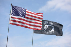 American flag along with the P.O.W flag Royalty Free Stock Images