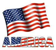 American Flag with AMERICA Royalty Free Stock Images