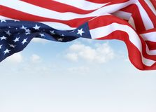 American flag. In front of blue sky Royalty Free Stock Photos