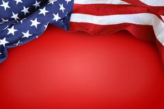 American flag. On red background Royalty Free Stock Photo
