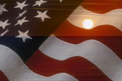 Free American Flag And Bright Sunshine On Ocean. USA Patriotic Concept Royalty Free Stock Photo - 92438955