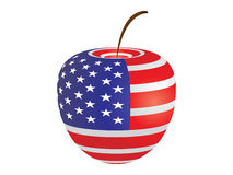 American flag on apple Stock Image