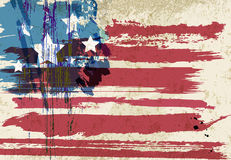 American flag artwork. Design, with strokes and splashes, stars and stripes, grungy stock illustration