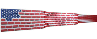 American flag as a brick wall. Border protection concept, isolated on white background 3d illustration Stock Images