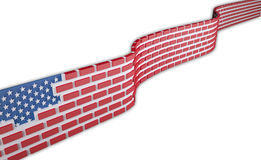 American flag as a brick wall. Border protection concept, isolated on white background 3d illustration Royalty Free Stock Photo