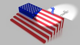 American flag as stairs with a businessman on top. Raising his arms america first concept 3D illustration Stock Images