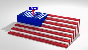 American flag as stairs with a man on top. Raising his arms america first concept 3D illustration Royalty Free Stock Images