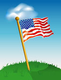 American flag background. Illustration of an American flag on a lawn, with a cloud background Royalty Free Stock Photo