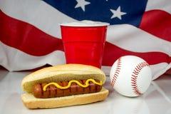 Hot dog and baseball with American flag