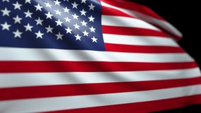 American Flag Background Blowing in the Wind Seamless Looping Luma Matte 4K. American Flag Background Blowing in the Wind Seamless Looping with Luma Matte 4K stock video