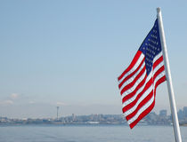 American flag on a background of downtown Seattle Stock Photo