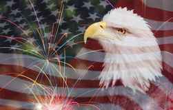 American Flag background with Eagle and fireworks Stock Photography