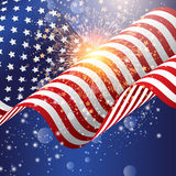 American flag background with firework. 4th July celebration background with American flag with fireworks Stock Image