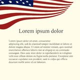 American flag background. Red, blue, white flag on light pink background, grey Lorem ipsum Stock Images
