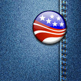 American Flag Badge On Jeans Denim Stock Photo