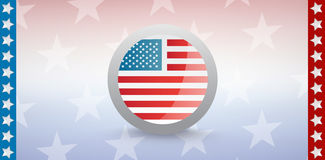 American flag badge with starry background. Digitally generated image of American flag badge with starry background Royalty Free Stock Images