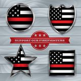 Firefighter Support Flag Badge Illustration stock illustration