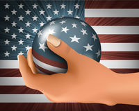 American flag with the ball Stock Photography