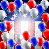 American Flag Balloons Background Design. An American flag patriotic or political design background with red, white and blue balloons Royalty Free Stock Photos