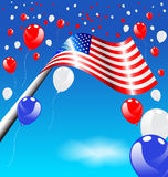 American Flag and balloons for Independence Day USA Stock Photography