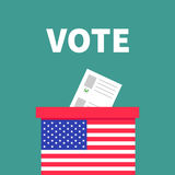 American flag Ballot Voting box with paper blank bulletin concept. Polling station. President election day Vote.. Isolated Green background Flat design Card Royalty Free Stock Images