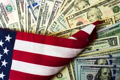 American flag and banknotes USD currency Stock Photo