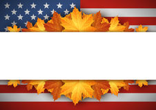American Flag. Banner. Autumn Leaves Background. Stock Photography