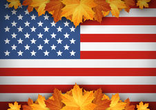 American Flag. Banner. Autumn leaves background. American Flag. Banner. Autumn leaves background Vec Royalty Free Stock Photo
