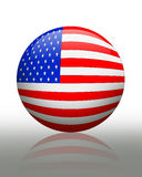 American Flag banner button. Illustration of American flag globe, ball, orb graphic patriotic or political icon with refection on plain background for banner Royalty Free Stock Image