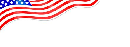 American flag banner. American flag wave background frame with empty space for text royalty free illustration