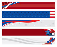 American Flag Banners. Illustration of 5 american flag banners Royalty Free Stock Images