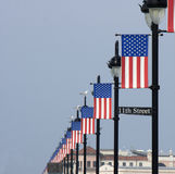 American Flag Banners on Lampposts Stock Photography