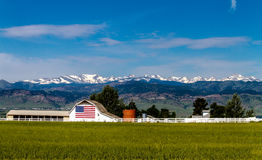 American Flag Barn in Boulder, CO Stock Photo
