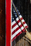 American Flag in Barn Window stock image