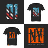 American flag and basketball old grunge effect. Vintage American flag and basketball old grunge effect tee print vector design. Premium quality superior sport Royalty Free Stock Photo