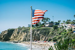 American flag on beach