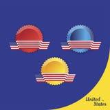 American flag of beautiful shape on the emblem. Flat  illustration EPS 10 Stock Photography