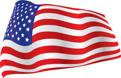 American Flag billowed in wind Stock Image
