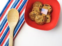 American, Flag, Biscuits, Bowl Stock Photo