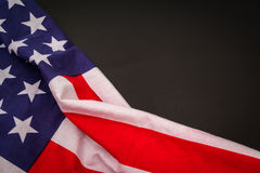 American flag on black background . Stock Photos