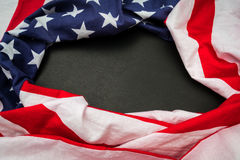 American flag on black background . Royalty Free Stock Photo
