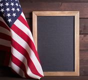American Flag with Blackboard royalty free stock images
